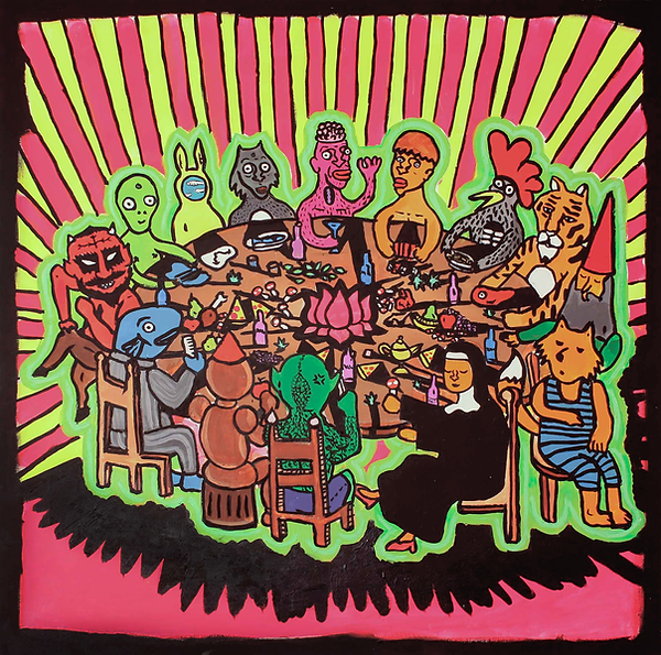 """""""TheLastSupper 2"""" / Acrylic Paint / 100 x 100 cm"""
