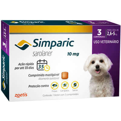 Antipulgas Zoetis Simparic 10 mg para Cães 2,6 a 5 Kg - 3unds
