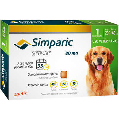 Antipulgas Zoetis Simparic 80 mg para Cães 20,1 a 40 Kg - 1und