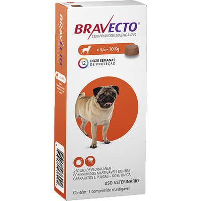 Anti Pulgas E Carrapatos Bravecto Para Cães De 4,5kg a 10kg -250mg