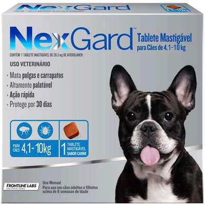 Antipulgas e Carrapatos Merial NexGard 28,3 mg para Cães de 4,1 a 10 Kg - 1und