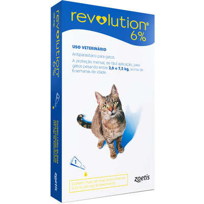 Antipulgas e Carrapatos Zoetis Revolution 6% para Gatos - 2,6 a 7,5kg
