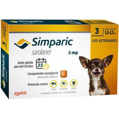Antipulgas Zoetis Simparic 5 mg para Cães 1,3 a 2,5 Kg - 3unds