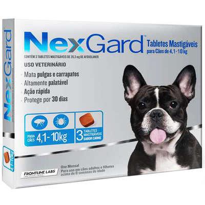 Antipulgas e Carrapatos Merial NexGard 28,3 mg para Cães de 4,1 a 10 Kg - 3unds