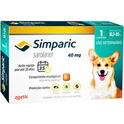 Antipulgas Zoetis Simparic 40 mg para Cães 10,1 a 20 Kg - 1und