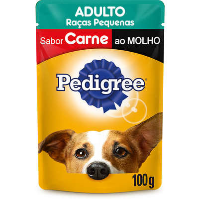 Ração Úmida Pedigree Sachê Carne ao Molho Cães Adultos de Raças Pequenas