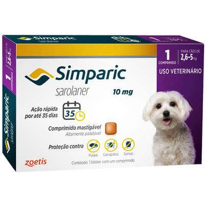 Antipulgas Zoetis Simparic 10 mg para Cães 2,6 a 5 Kg - 1und