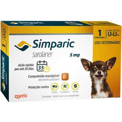 Antipulgas Zoetis Simparic 5 mg para Cães 1,3 a 2,5 Kg - 1und
