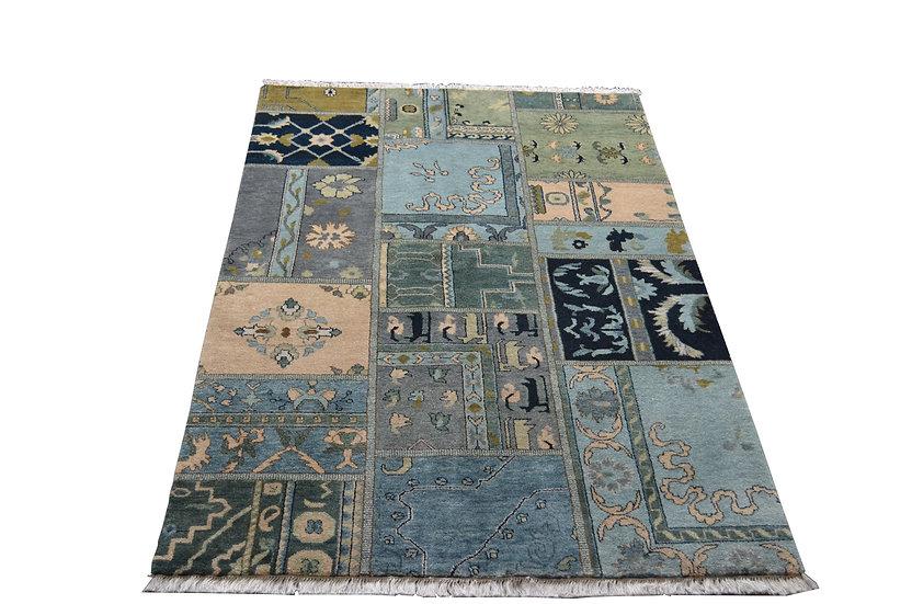 Patch 1009, Vintage, blau, handgeknüpft, 100% Schurwolle, verschieden Größen