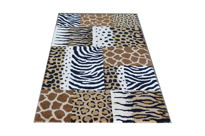Tierfell Patchwork Design 292, 100% Wolle, African Style