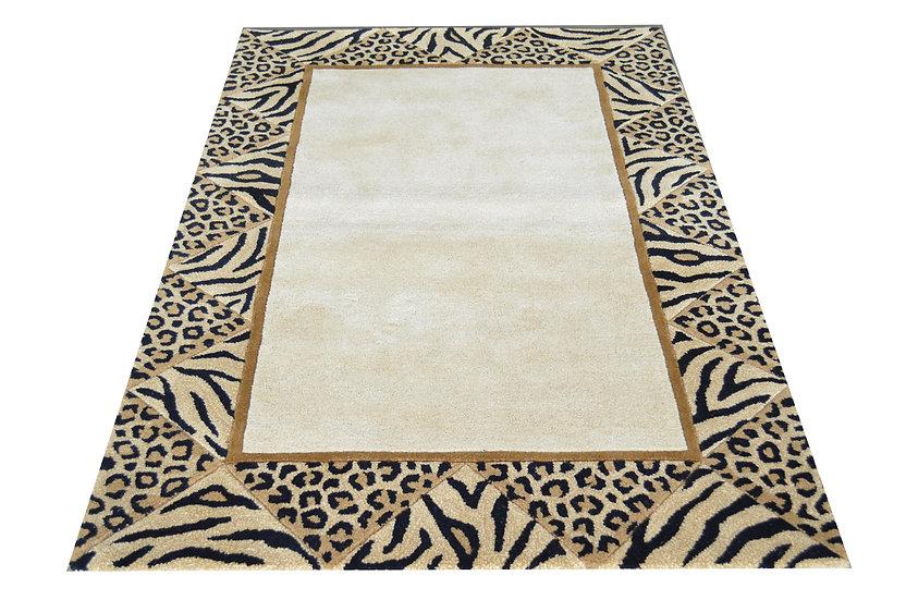 Leopard Patchwork Bordüre, Design 261, 100% Wolle, African Style