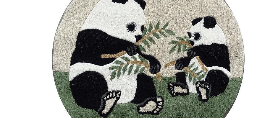 Pandabärin mit Kind, rund, 100% Wolle,  Ø 107 cm, African Style