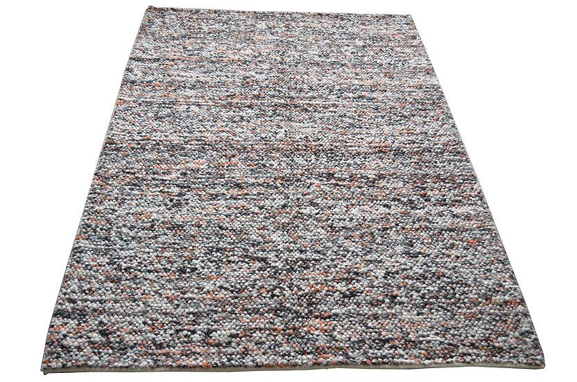 Pebble Chalet schwarz/ terra, Handweb, modern,  60% Wolle, 40% Viskose
