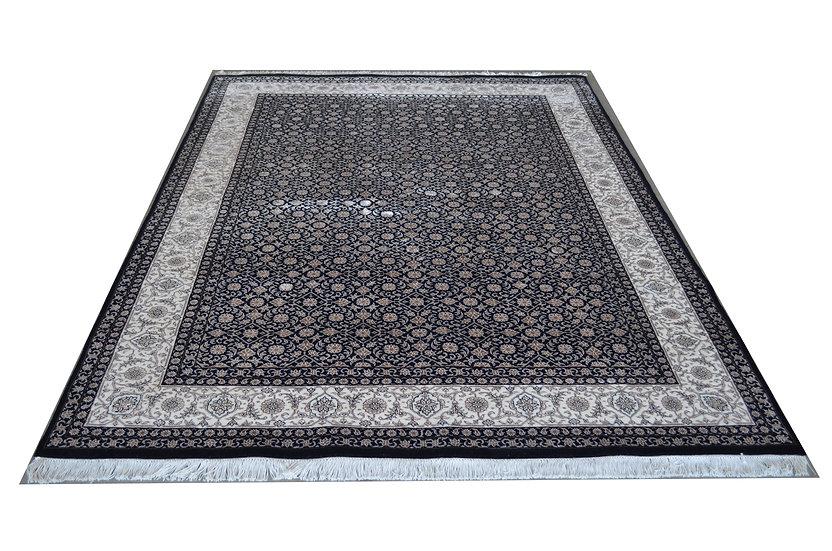 Indo Begum-Kalonji, schwarz, Orientteppich, 2 er Bordüre, verschiedene Größen