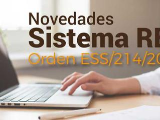 Novedades sistema RED  (Orden ESS/214/2018)