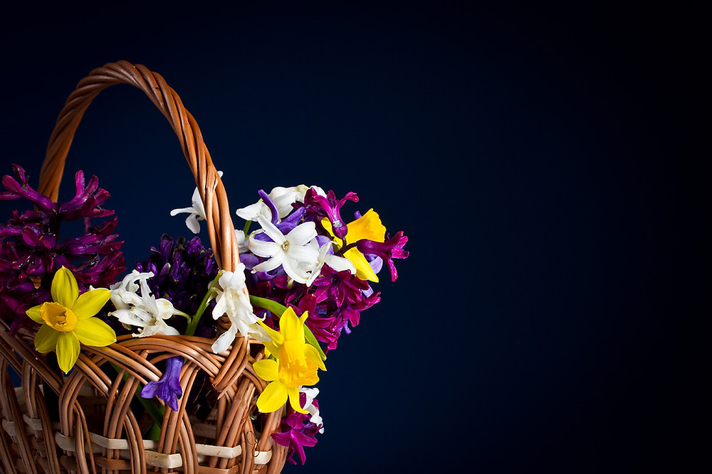 This image shows an ideal gift for Mother's day 2019. It is a beautiful basket of flowers,.