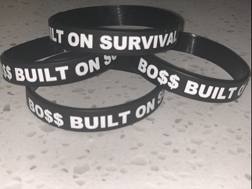 Built On Survival Skills Rubber Wristband