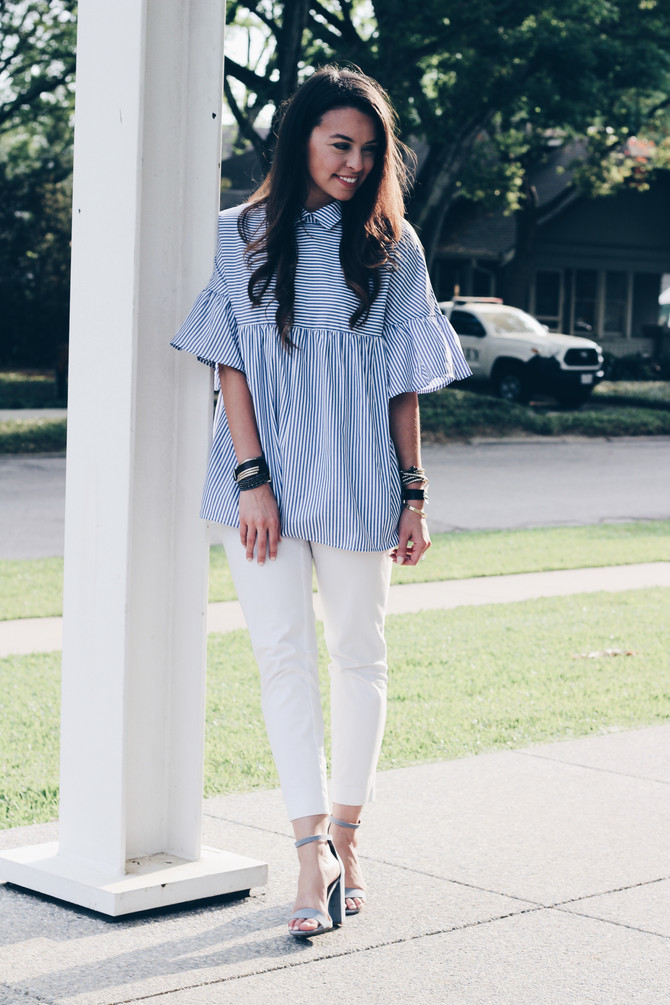 Blue and White Girly Look