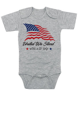 United We Stand, With a Lil' Help - Patriotic / Family Inspired Onesie/Bodysuit