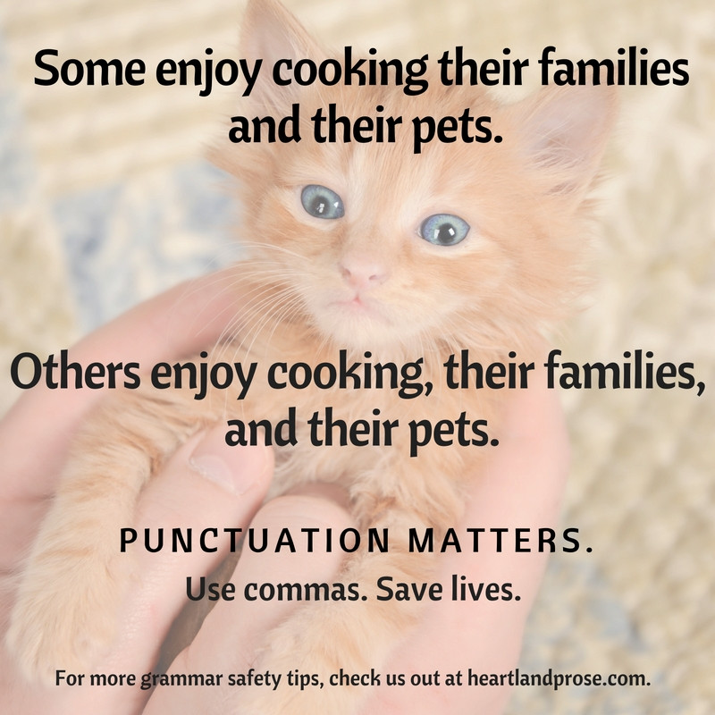 When to use a serial comma, cooking cat