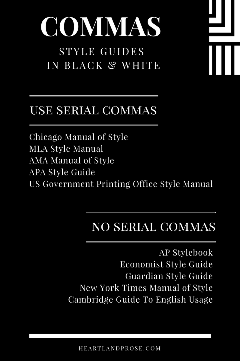 Comma usage, Style Guides