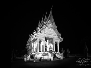 Buddhist Temple at night in Nakhon Phanom, North Eastern Thailand