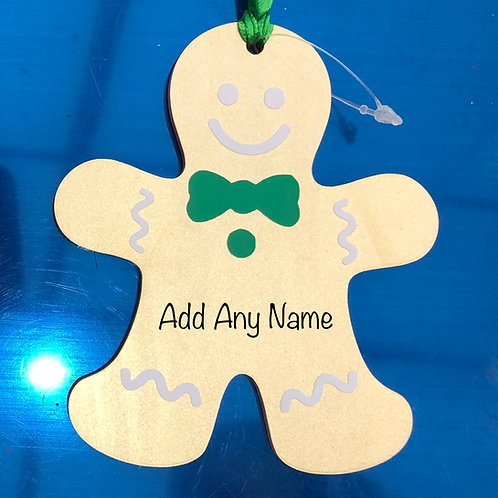 Gingerbread Man Acrylic Bauble Personalised With Name