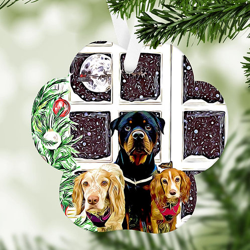 Cartoonise your pet printed on a MDF wooden bauble