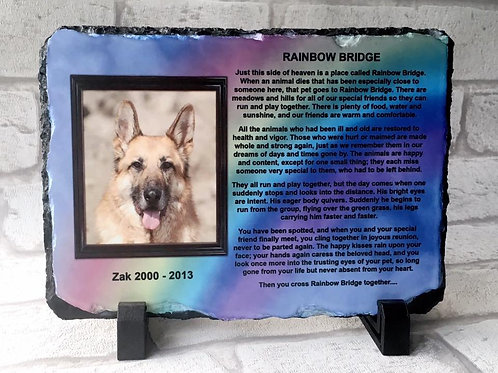 Pet Photo Memorial Slate - Rainbow