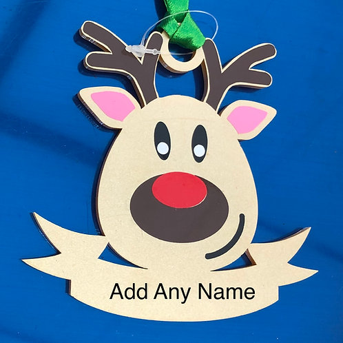Reindeer Acrylic Bauble Personalised With Name