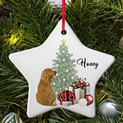 Dog Breed Ceramic Christmas Tree Bauble/Decoration With Own Name