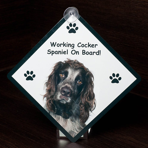 Car Sign - Working Cocker Spaniel On Board