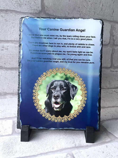 Pet Photo Memorial Slate - Angel