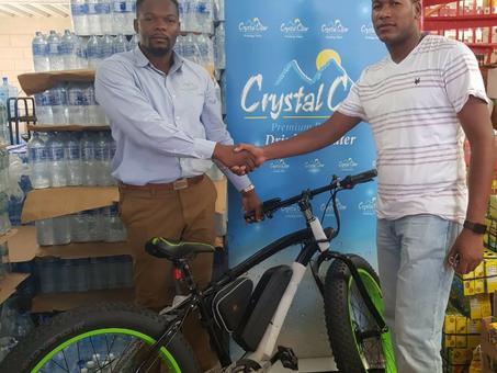 CRYSTAL CLEAR REWARDS LOYAL CUSTOMER WITH AN ELECTRIC BIKE