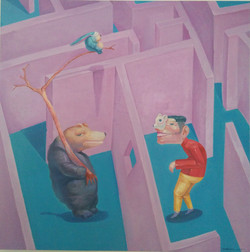 Huangzhu,dialogue,Oil on canvas,100cmx100cm.2015.KHD25000_柱《__》。布面油_100cmx100cm.2015.HKD25000