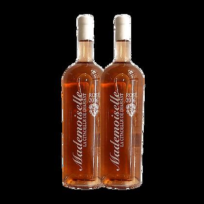 שני בקבוקים של מגנום 1.5 ל' רוזה מדמוזל (חבית2016)
