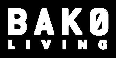 BAKØ Living logo i hvid. Logo af producent af snedkerløsninger