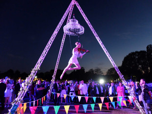 Freestanding Aerial Tripod with Chandelier & Violinist