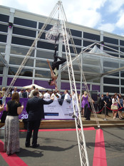 Freestanding Aerial Tripod with Chandelier & Aerial Champagne Service
