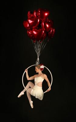Aerial Hoop - Love Heart Balloons