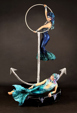 Aerial Mermaids with freestanding aerial anchor. Sea theme nautical sirens