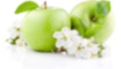 Two Green Apples with Leaf and Flowers i