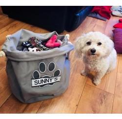 Soft personalised Dog, Toy Holder.  Wash