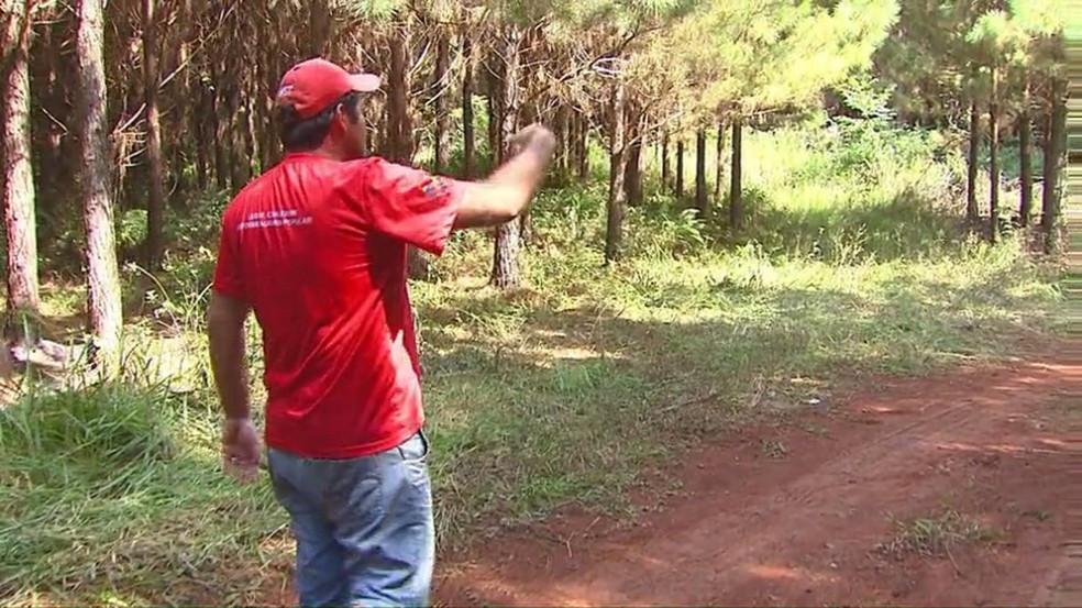 Integrante do MST mostra local onde trabalhadores sem-terra foram mortos pela polícia em Quedas do Iguaçu (PR) —(Foto: Reprodução / RPC)