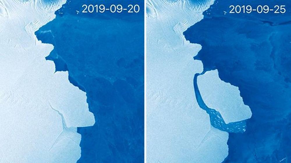 Sistema de satélite Sentinel-1 da União Europeia capturou essas imagens para fazer a comparação antes e depois —( Foto: Divulgação / Copernicus)