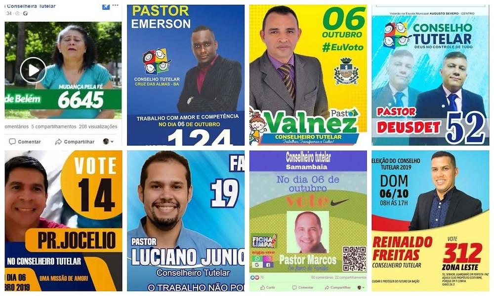 Busca no Facebook revela dezenas de candidatos a conselheiro tutelar que se apresentam como pastores ou usam passagens bíblicas no material de campanha — Foto: Reprodução