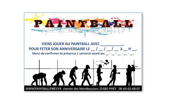 invitation anniversaire paintball pirey