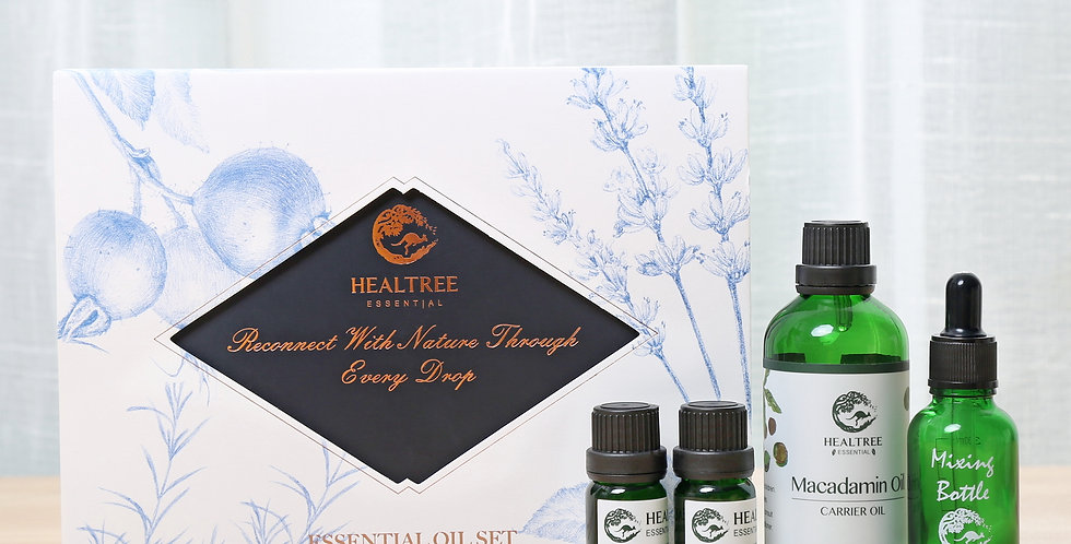 Essential Oil Set - For Skin Care - Lavender, Tea tree, Macadamia, Mix Bottle
