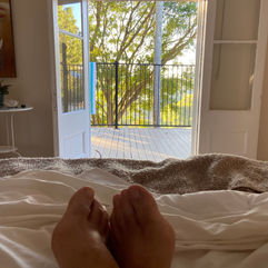 Julie Devery - Relaxing at Holiday House