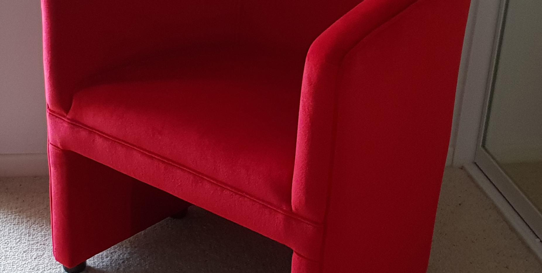 Lush red velvet tub chair
